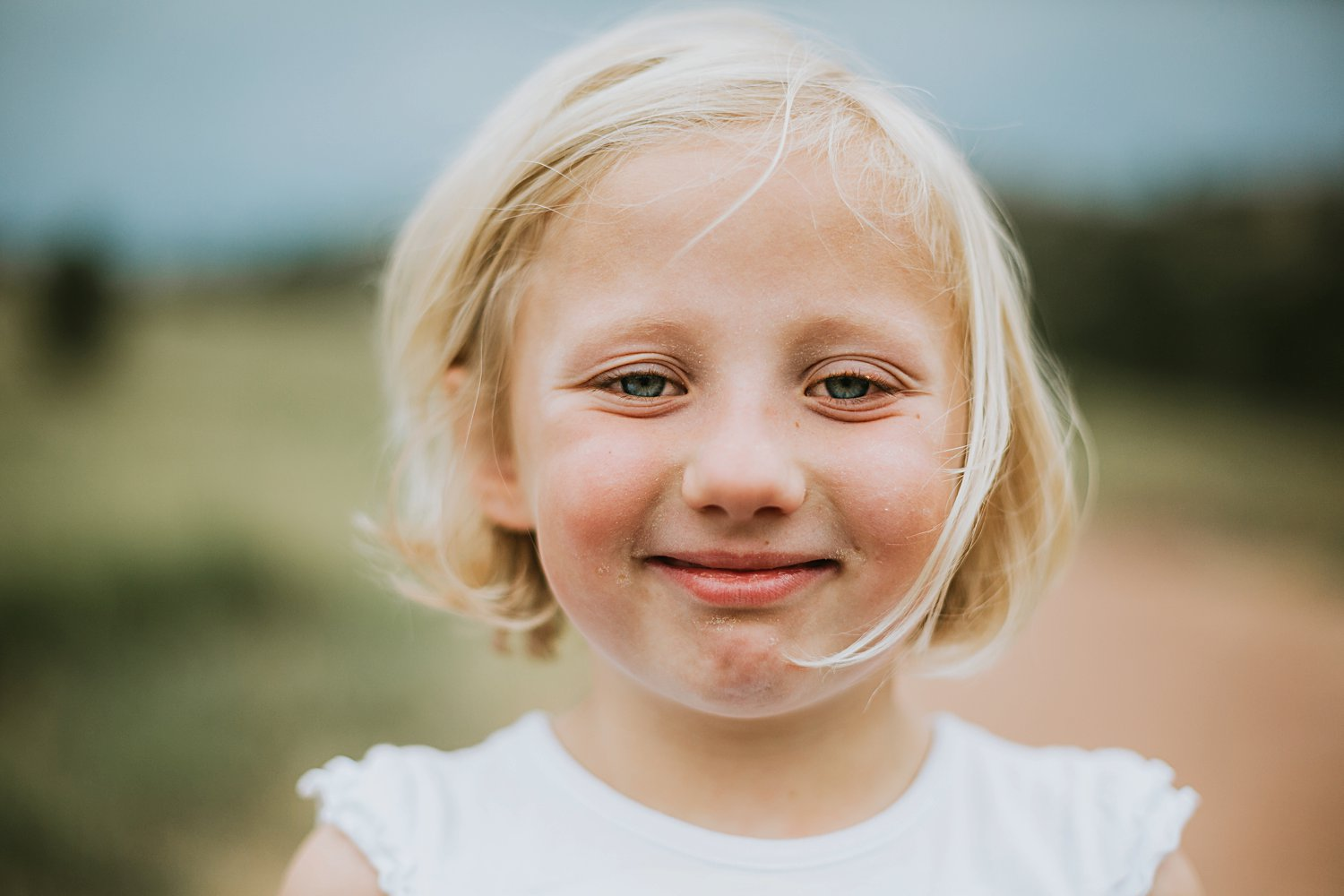 Close up of little girl smiling