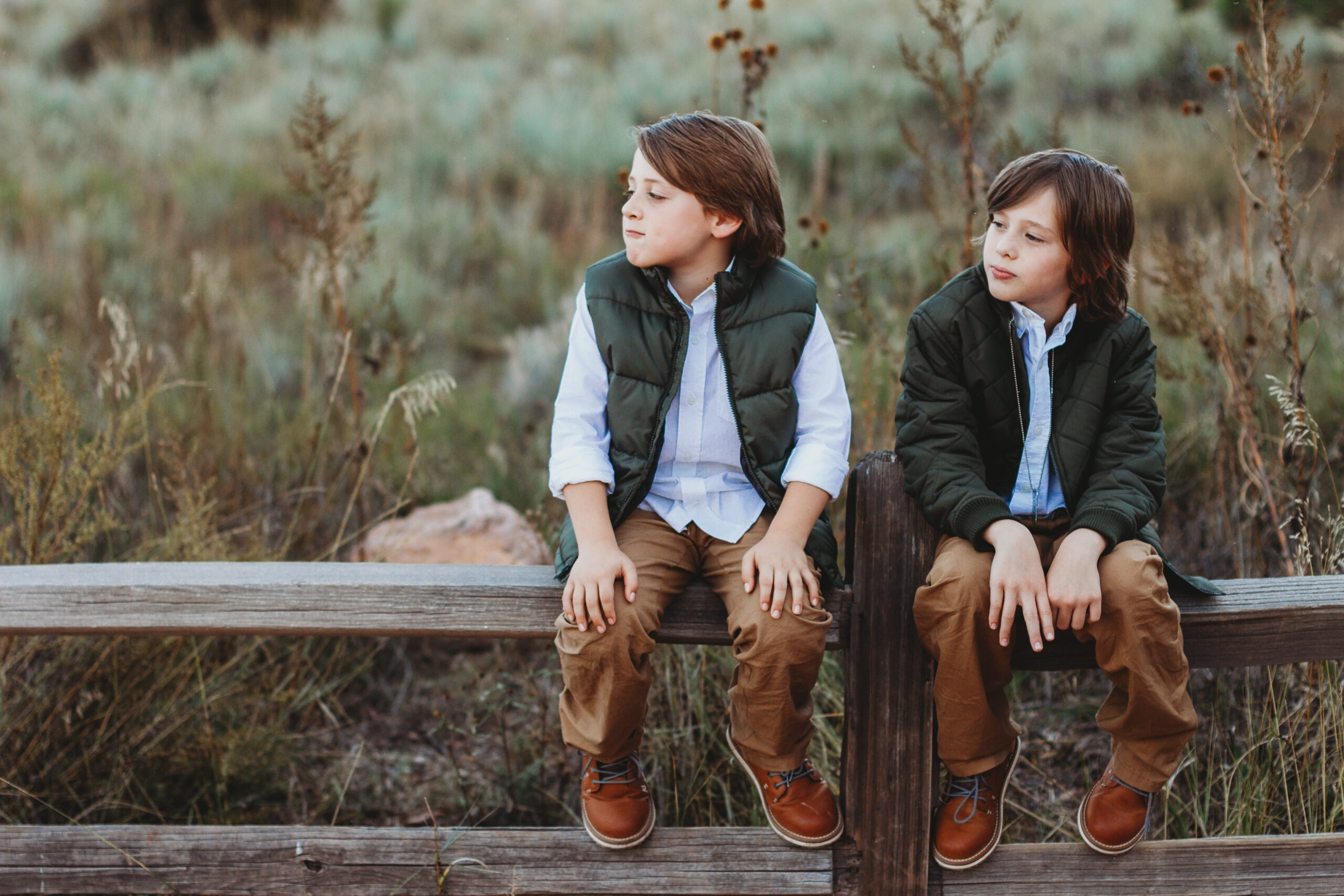 Two boys sitting on a fence looking off to their right