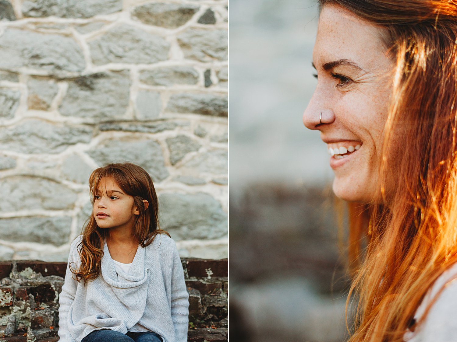 Portraits of mom and daughter profiles