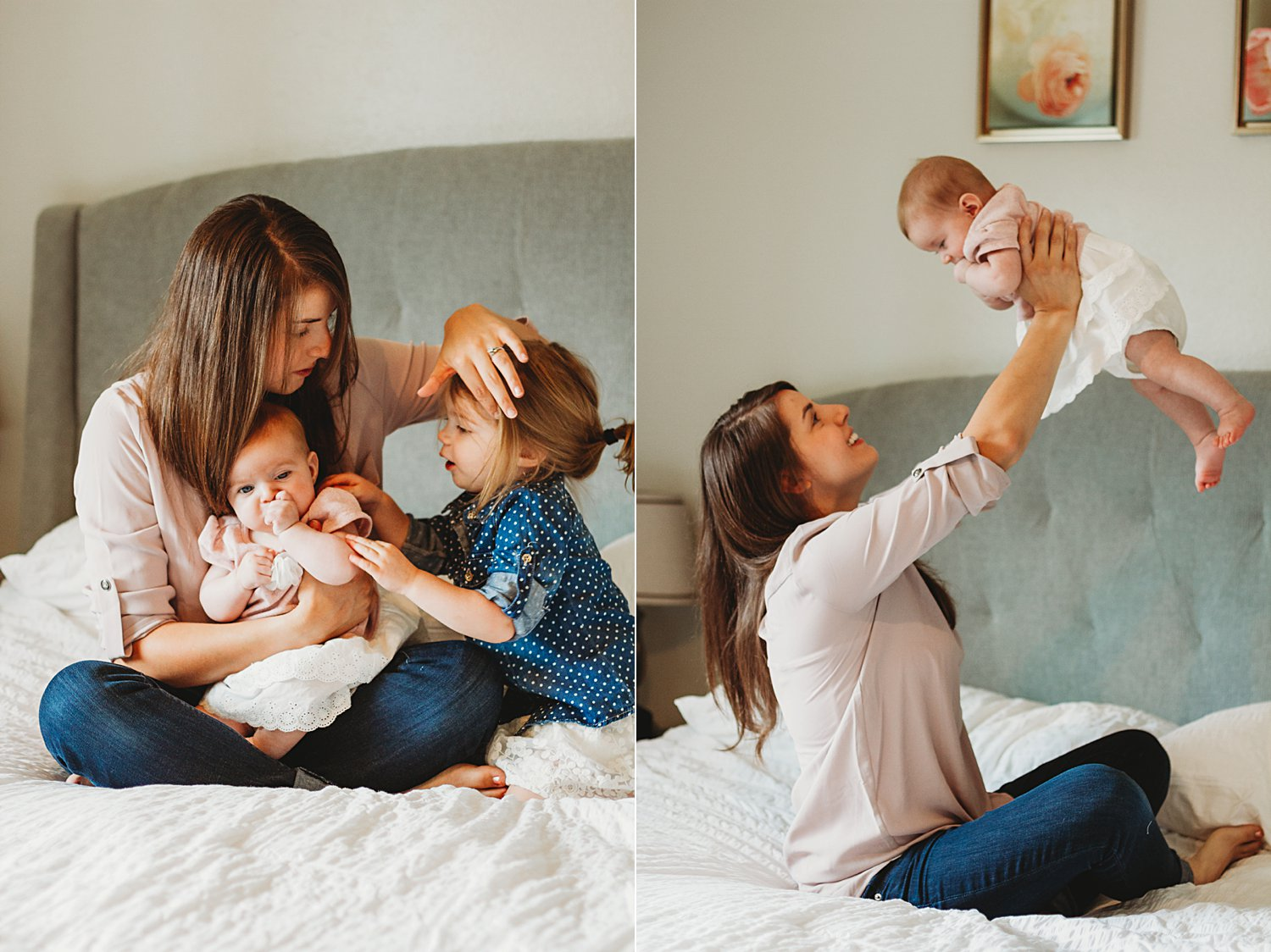 Candid lifestyle photos of mom with young children on bed