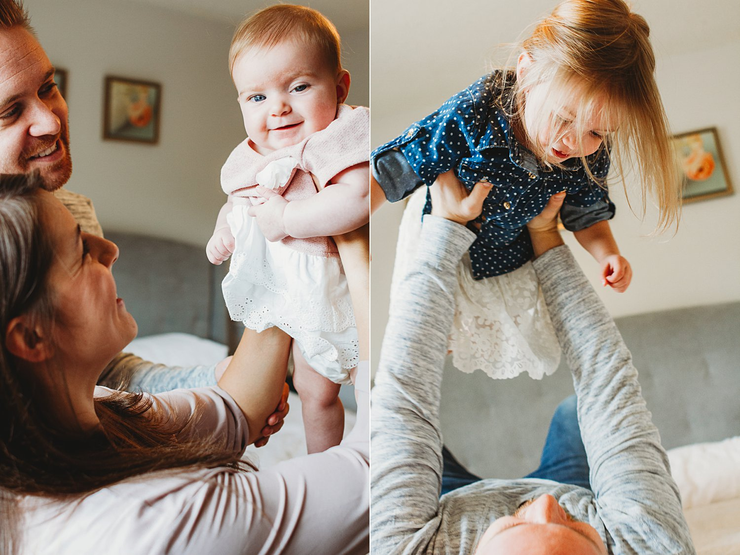 Lifestyle photos of parents playing with young children