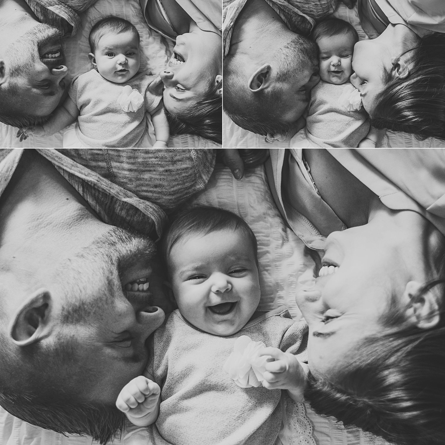 Family portraits with baby on bed with mom and dad
