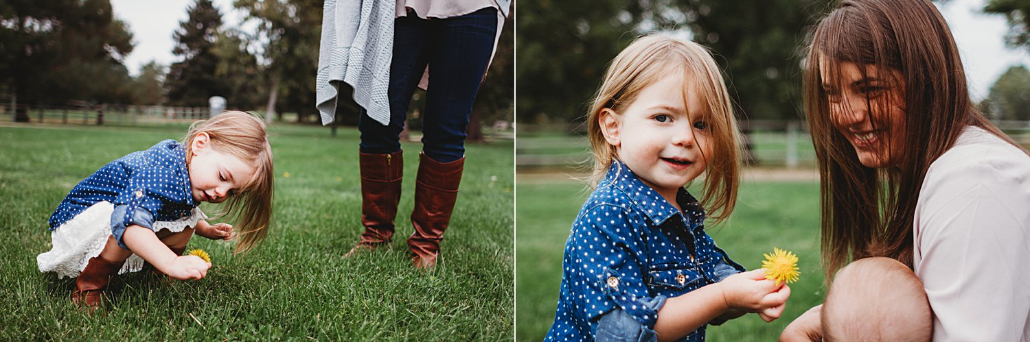 Candid lifestyle portraits of young girl and mom picking dandelions