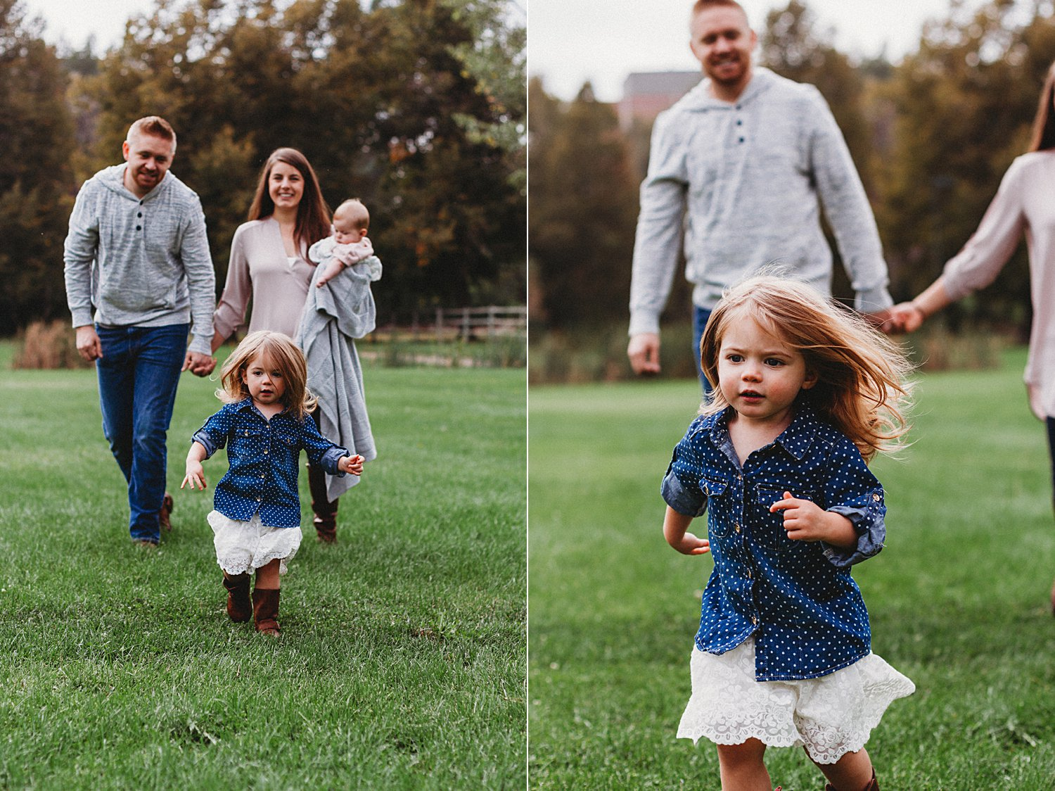 Lifestyle portraits of young family in grass field