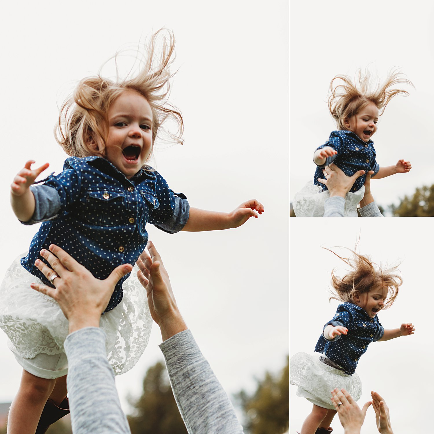 Fun portraits of young child being thrown into air by dad