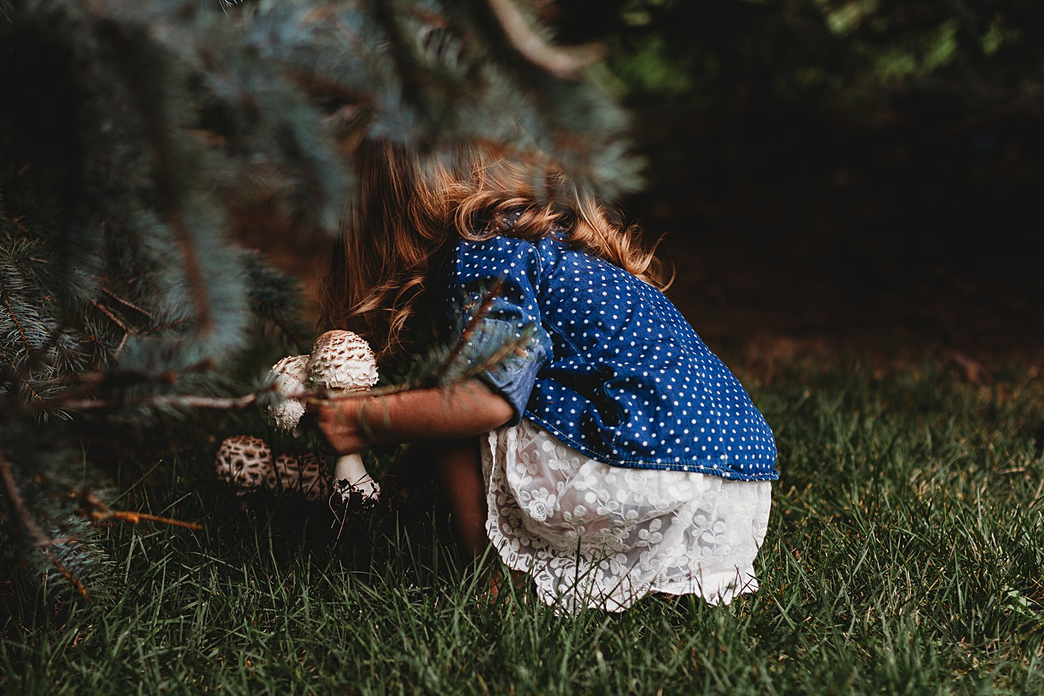 Young girl picking mushrooms under a tree