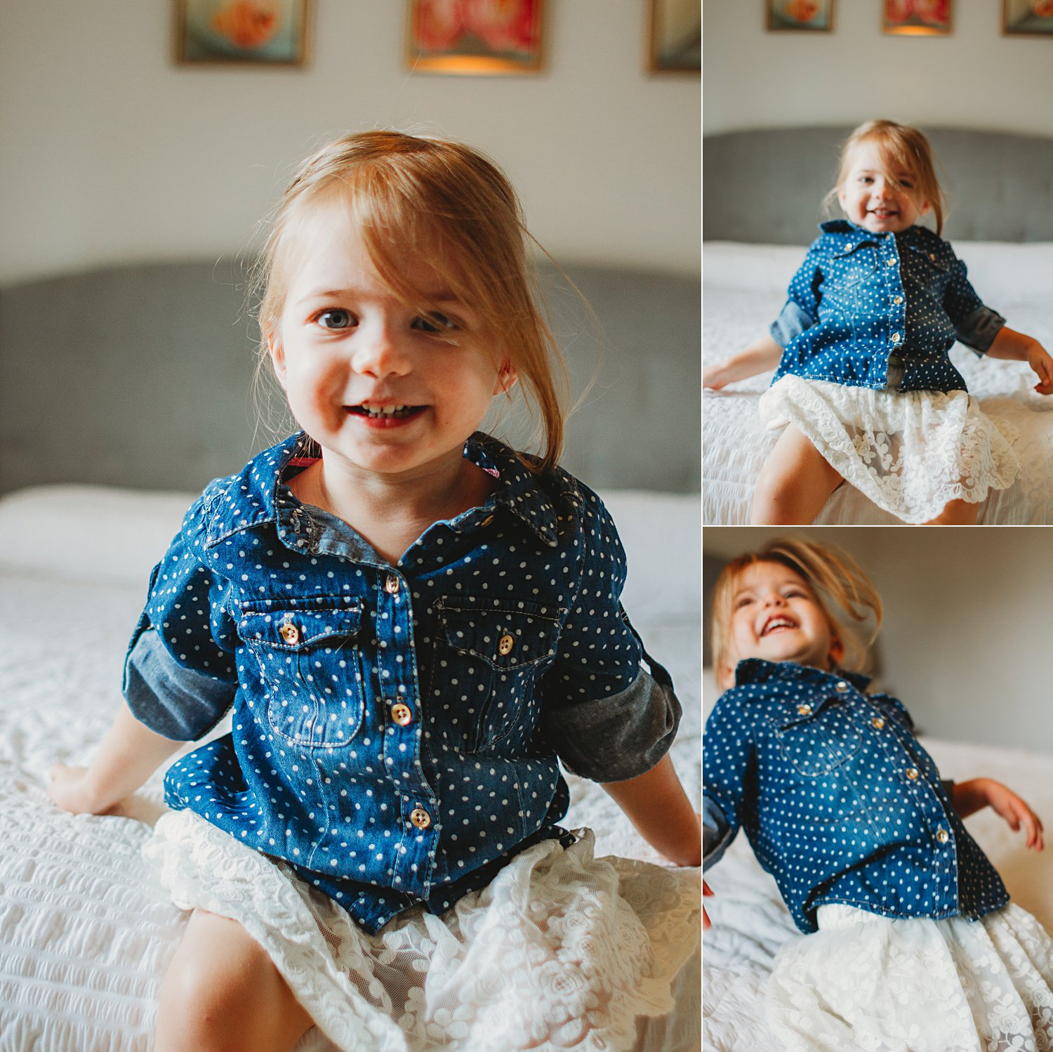 Lifestyle photos of young girl jumping on bed