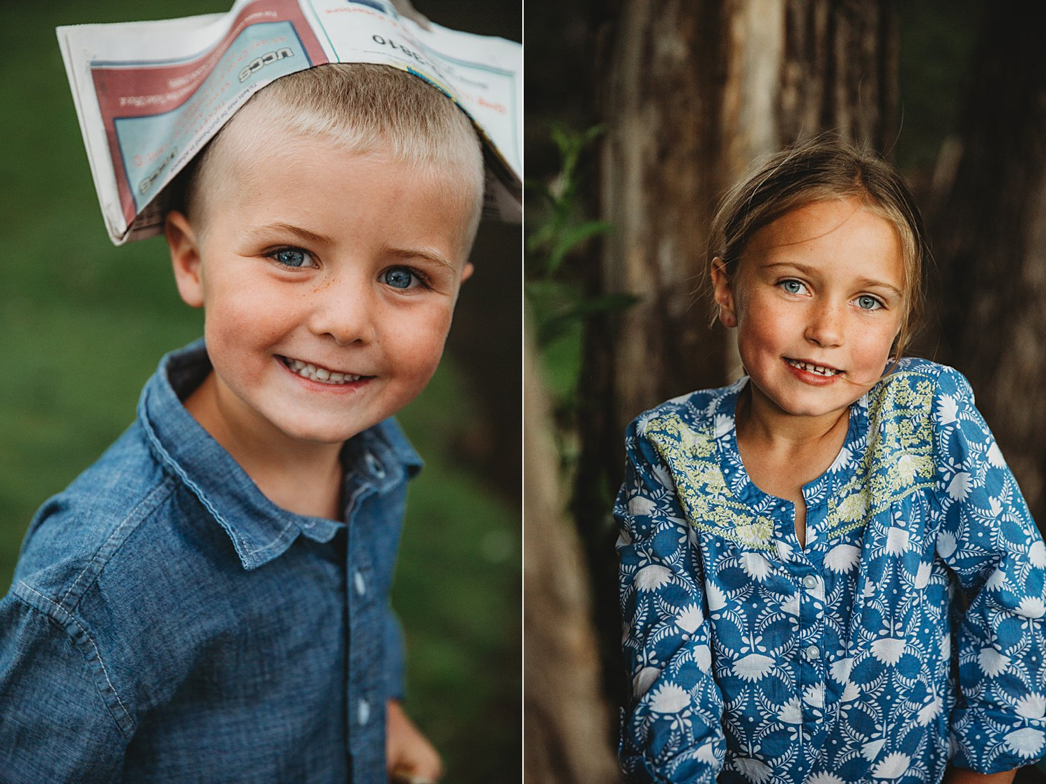 Portraits of a boy and a girl outside