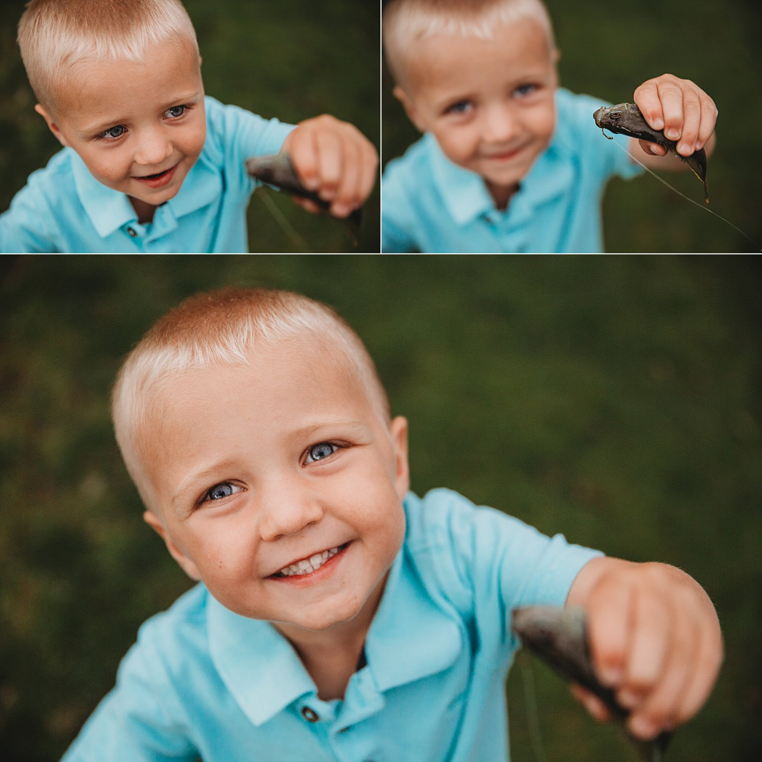 Portraits of a young boy holding a fish