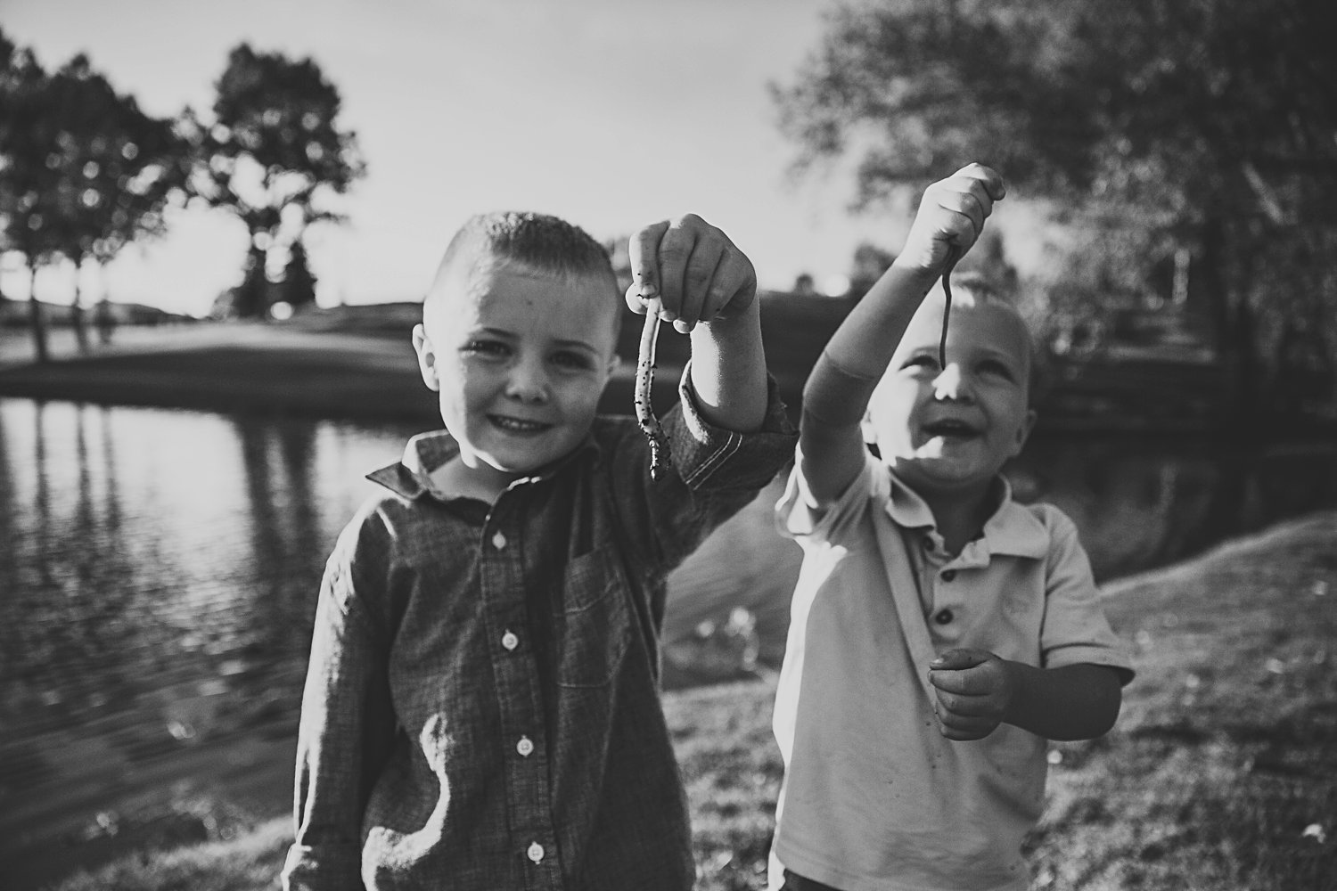 Lifestyle portrait of two young boys