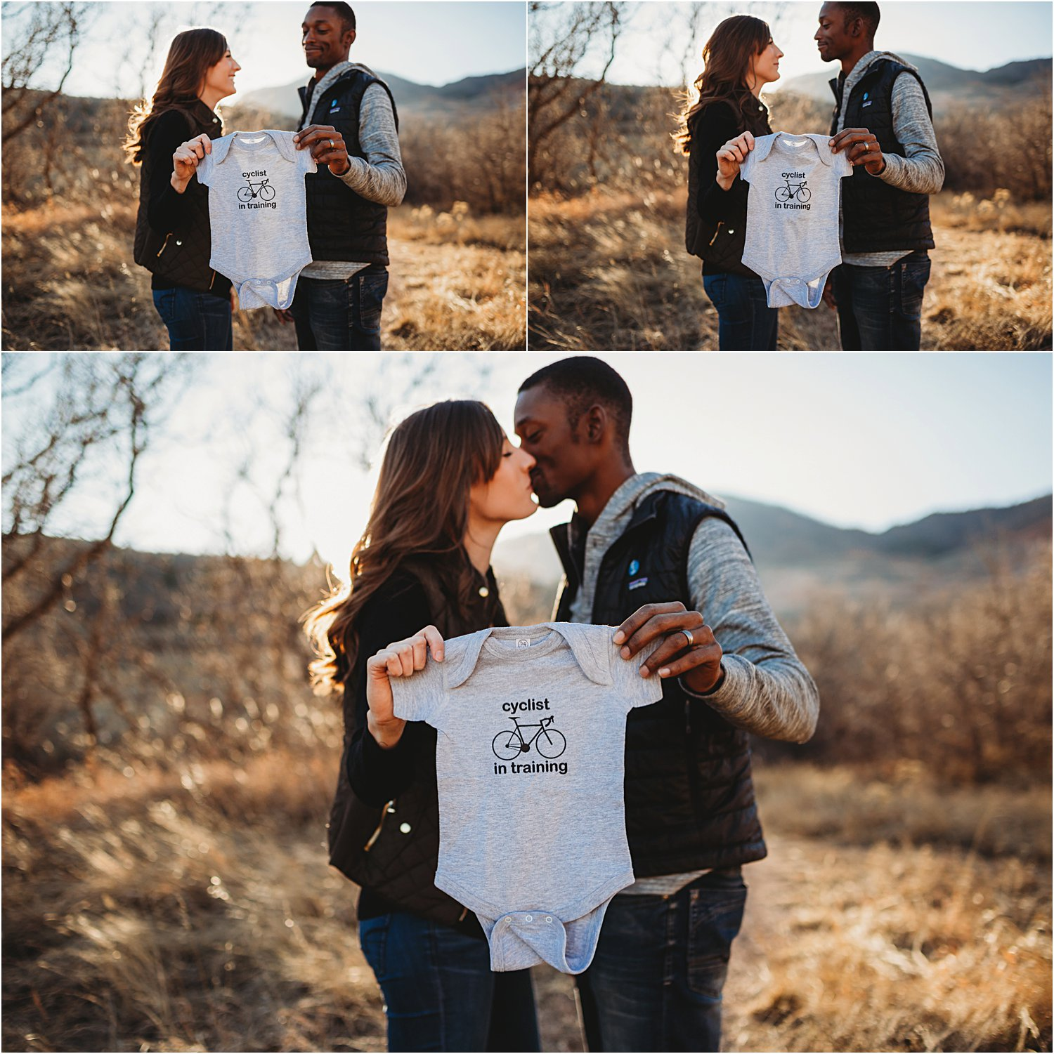 Collage of images of couple with baby onesie and baby ultrasound