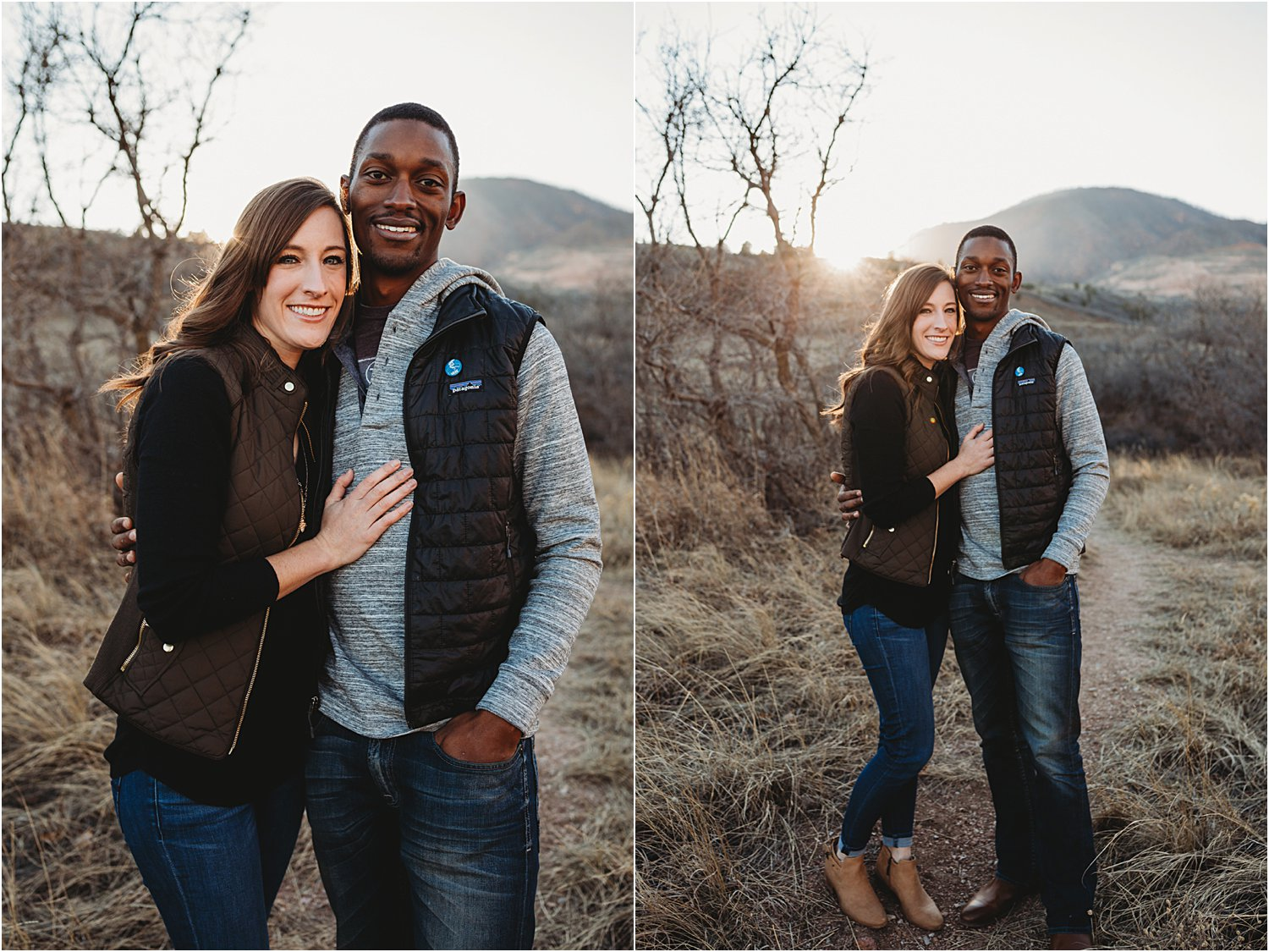 Collage of images of couple standing next to each other with sun setting behind them