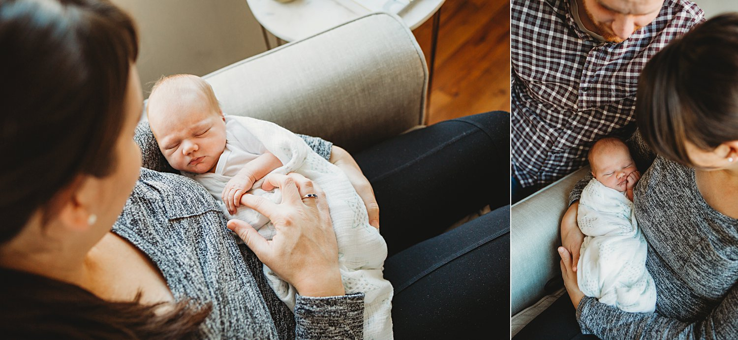 Lifestyle portraits of mom holding newborn baby