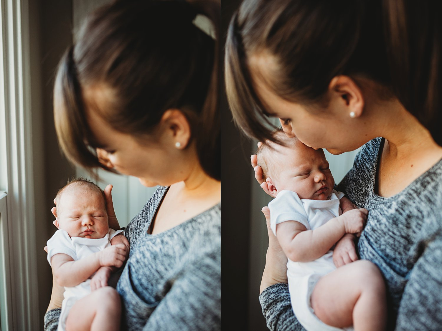 Photo of Mom holding newborn baby and kissing her head