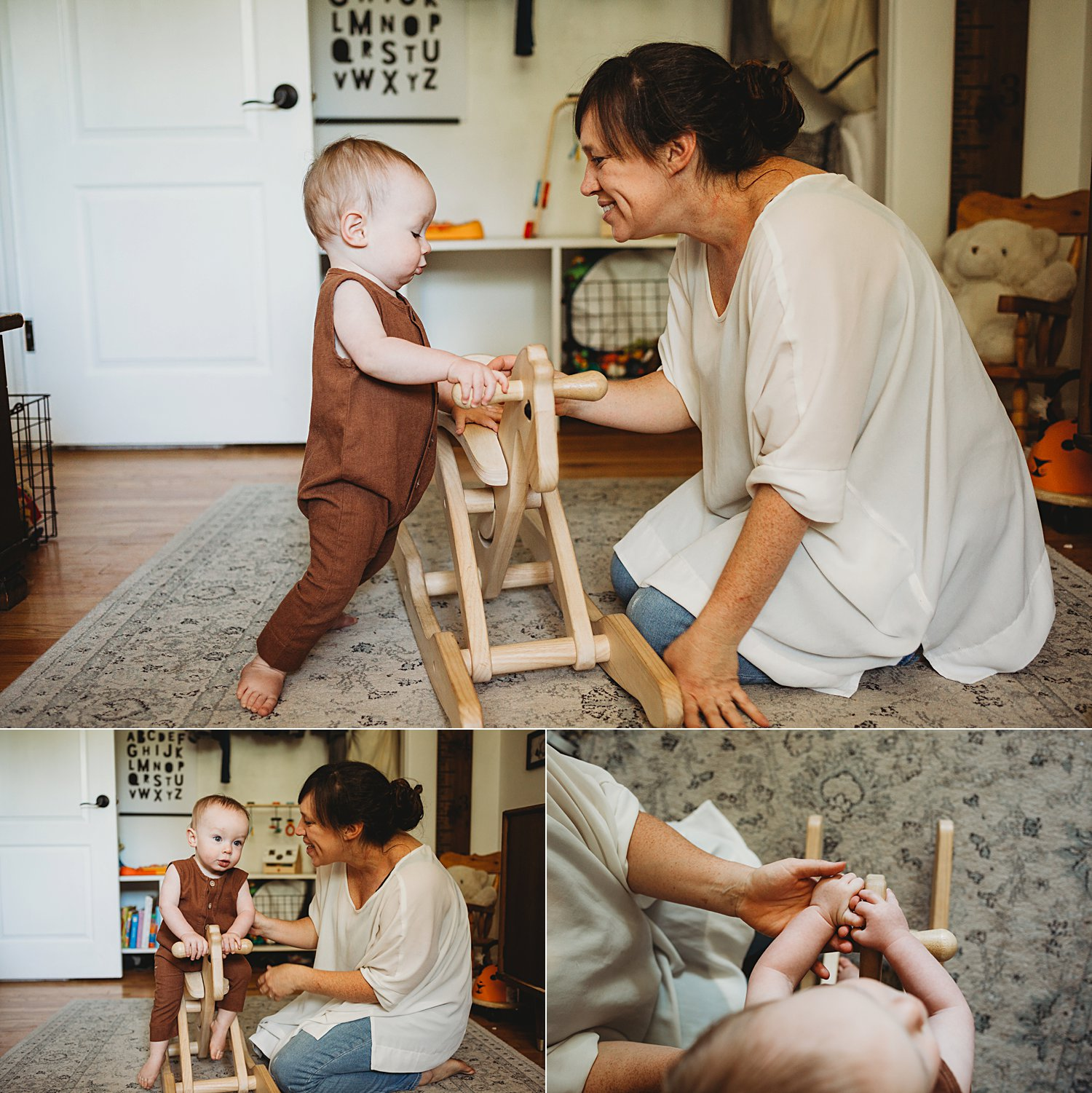 Mom plays with baby boy on rocking horse