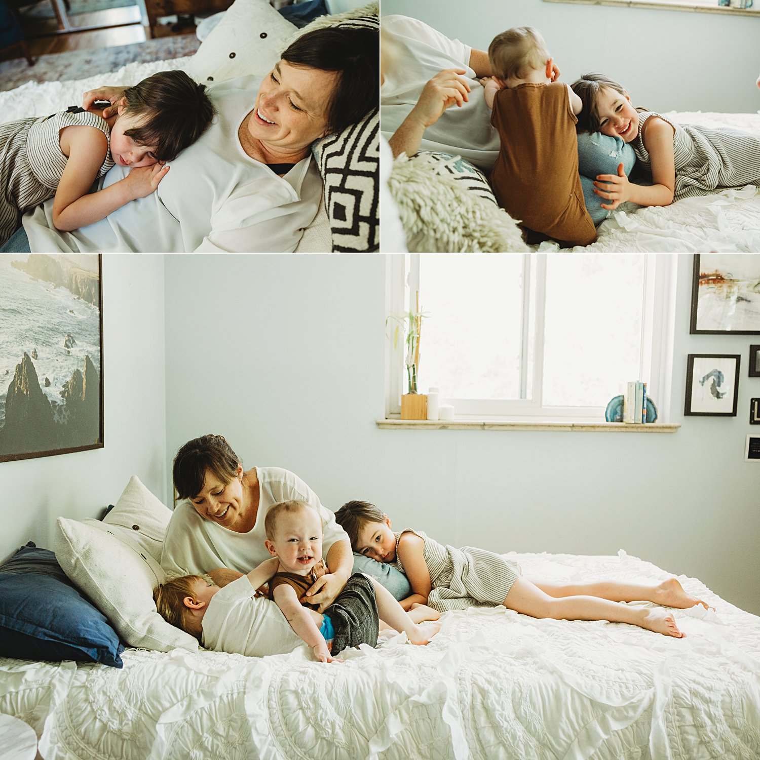 Mom cuddling with children on bed