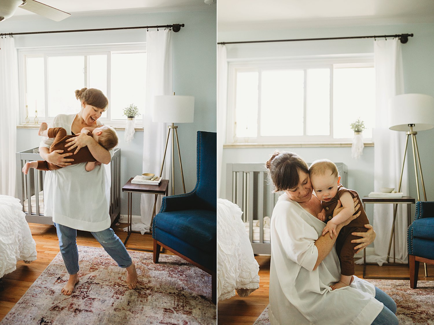Mom snuggling baby boy and dancing